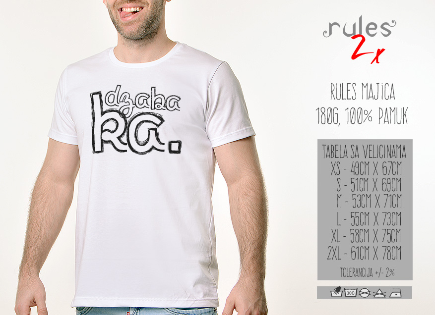 Muska Rules Majica sa natpisom - Dzabaka - Tabela velicina