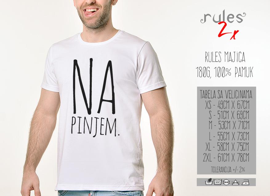 Muska Rules Majica sa natpisom Napinjem - Tabela velicina