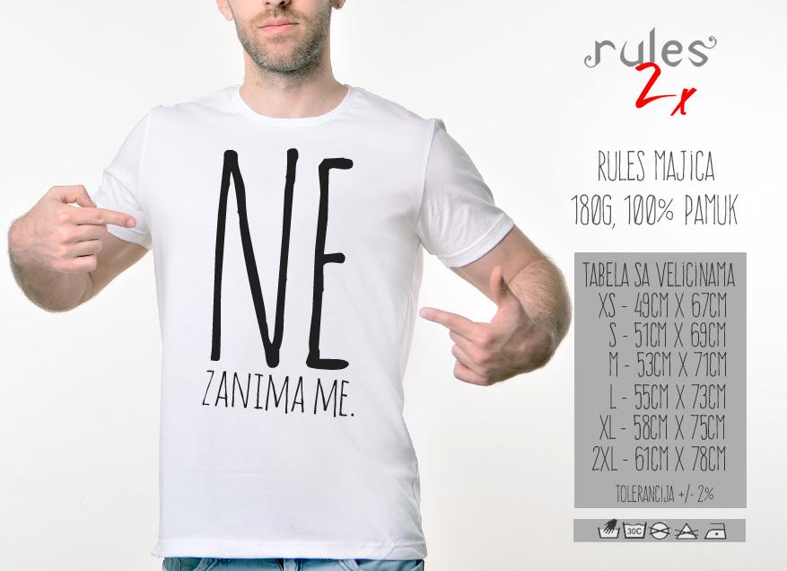 Muska Rules Majica sa natpisom - Ne Zanima Met - Tabela Velicina