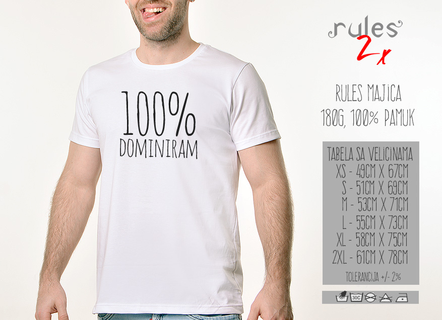 Muska Rules majica sa natpisom 100% dominiram - Tabela velicina