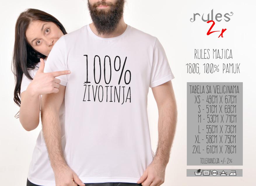 Muska Rules majica sa natpisom 100% zivotinja - Tabela velicina