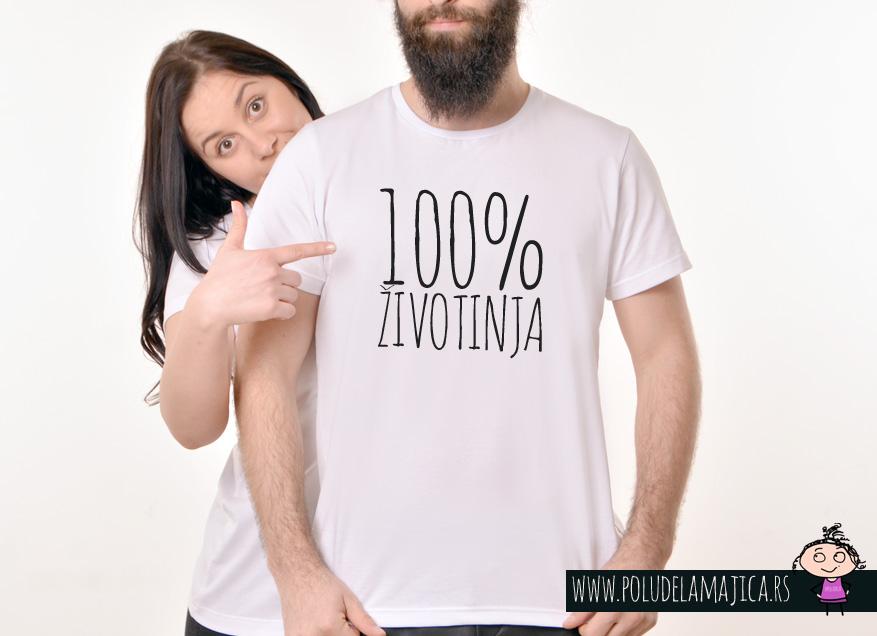 Muska Rules majica sa natpisom 100% zivotinja - poludelamajica