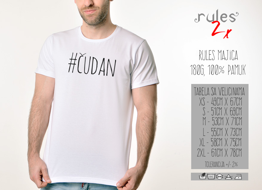 Muska Rules majica sa natpisom - Cudan - Tabela velicina