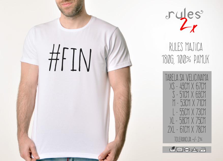 Muska Rules majica sa natpisom Fin - Tabela velicina