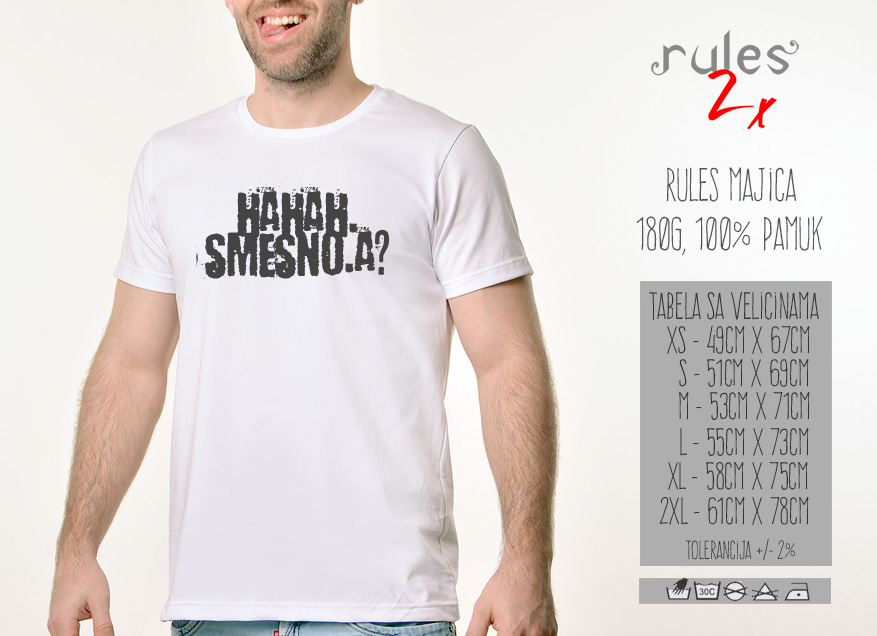 Muska Rules majica sa natpisom Hahah Smesno a -  Tabela velicina