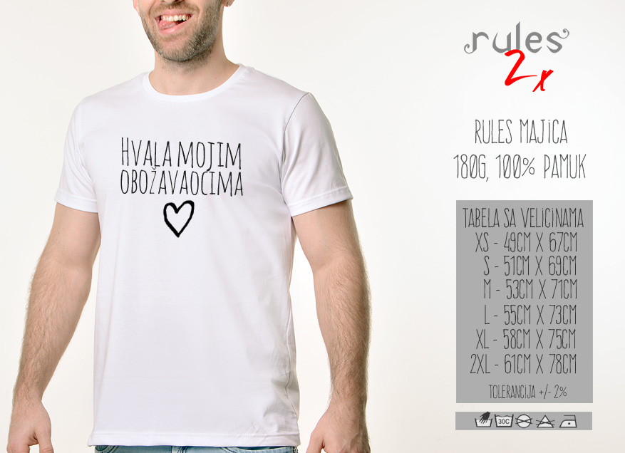 Muska Rules majica sa natpisom Hvala Mojim Obozavaocima - Tabela velicina