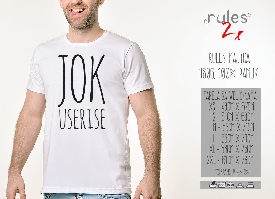 Muska Rules majica sa natpisom - Jok Useri Se - Tabela Velicina