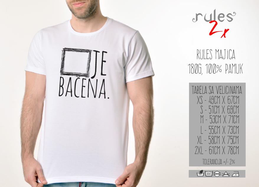 Muska Rules majica sa natpisom Kocka Je Bacena - Tabela Velicina
