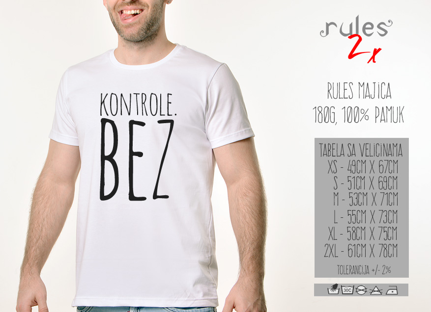 Muska Rules majica sa natpisom Kontrole Bez - Tabela velicina