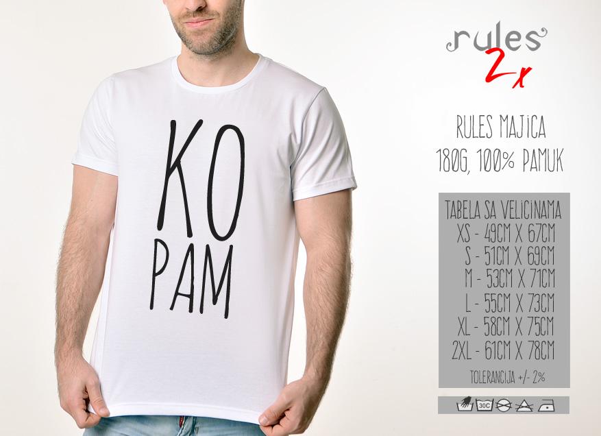 Muska Rules majica sa natpisom - Kopam - Tabela velicina