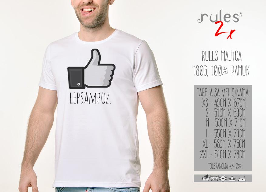 Muska Rules majica sa natpisom Lep Sam Poz - Tabela velicina