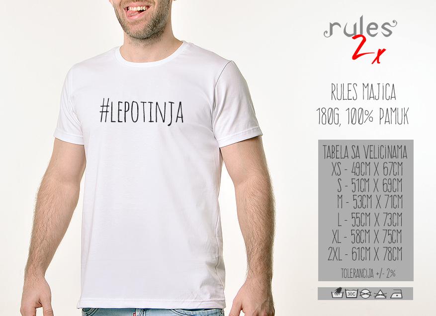 Muska Rules majica sa natpisom Lepotinja - Tabela velicina