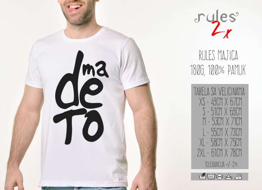 Muska Rules majica sa natpisom Ma De To - Tabela velicina