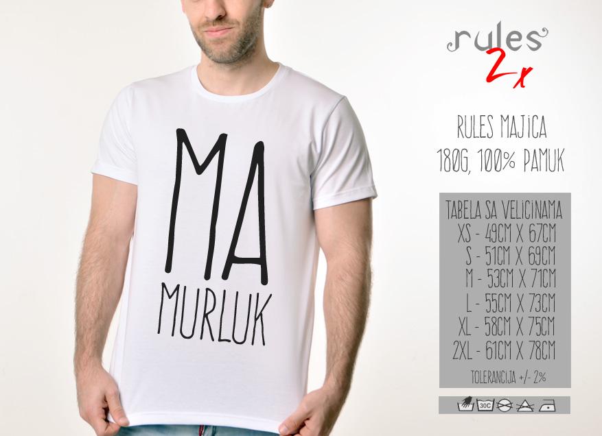 Muska Rules majica sa natpisom Mamurluk -  Tabela velicina