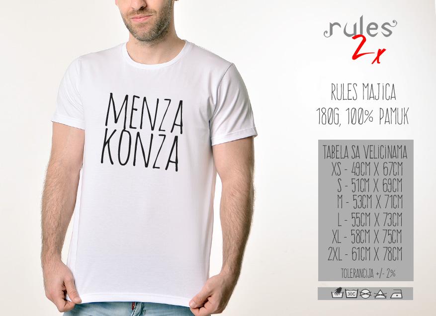 Muska Rules majica sa natpisom Menza Konza - Tabela velicina