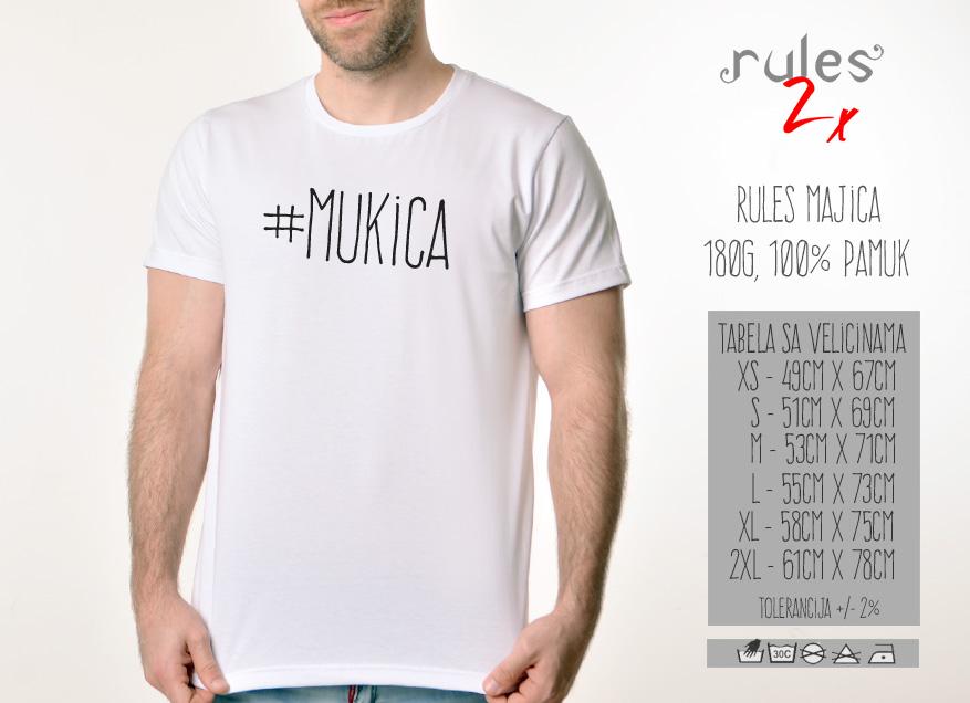 Muska Rules majica sa natpisom Mukica - Tabela velicina