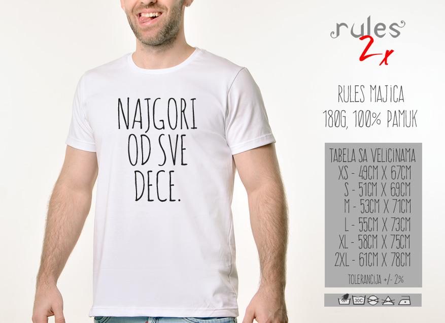 Muska Rules majica sa natpisom Najgori Od Sve Dece - Tabela velicina