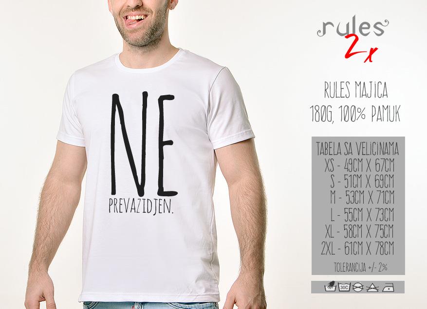 Muska Rules majica sa natpisom - Neprevazidjen - Tabela velicina