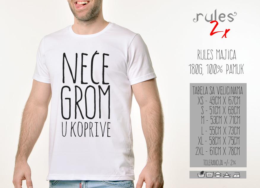 Muska Rules majica sa natpisom Nece Grom U Koprive - Tabela velicina