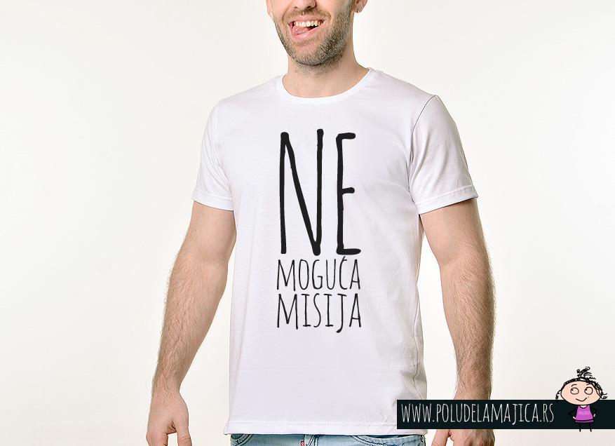 Muska Rules majica sa natpisom - Nemoguca misija - poludelamajica