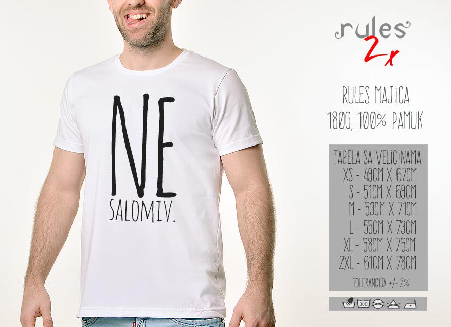 Muska Rules majica sa natpisom - Nesalomiv - Tabela velicina