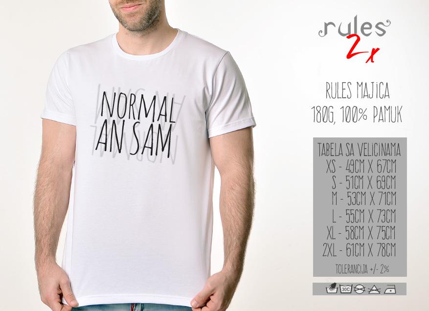Muska Rules majica sa natpisom Normalan Sam - Tabela velicina