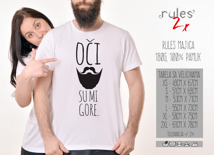 Muska Rules majica sa natpisom Oci Su Mi Gore - Tabela velicina