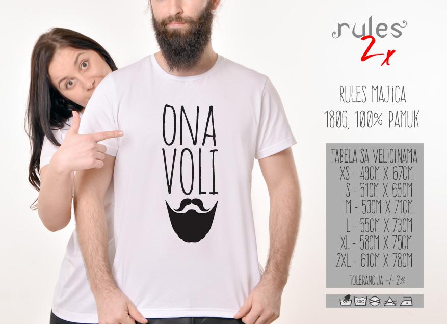 Muska Rules majica sa natpisom Ona VoliBradu - Tabela velicina