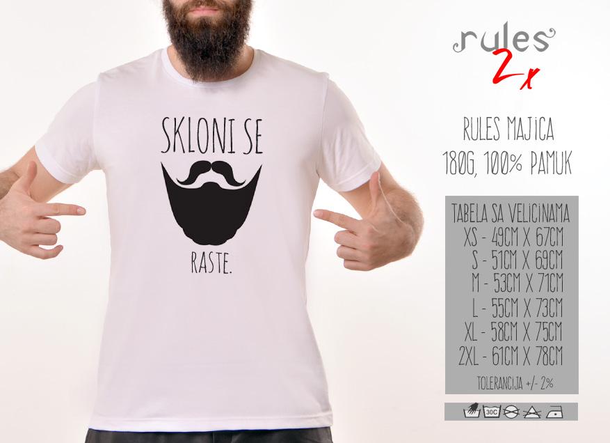 Muska Rules majica sa natpisom Skloni Se Raste - Tabela Velicina