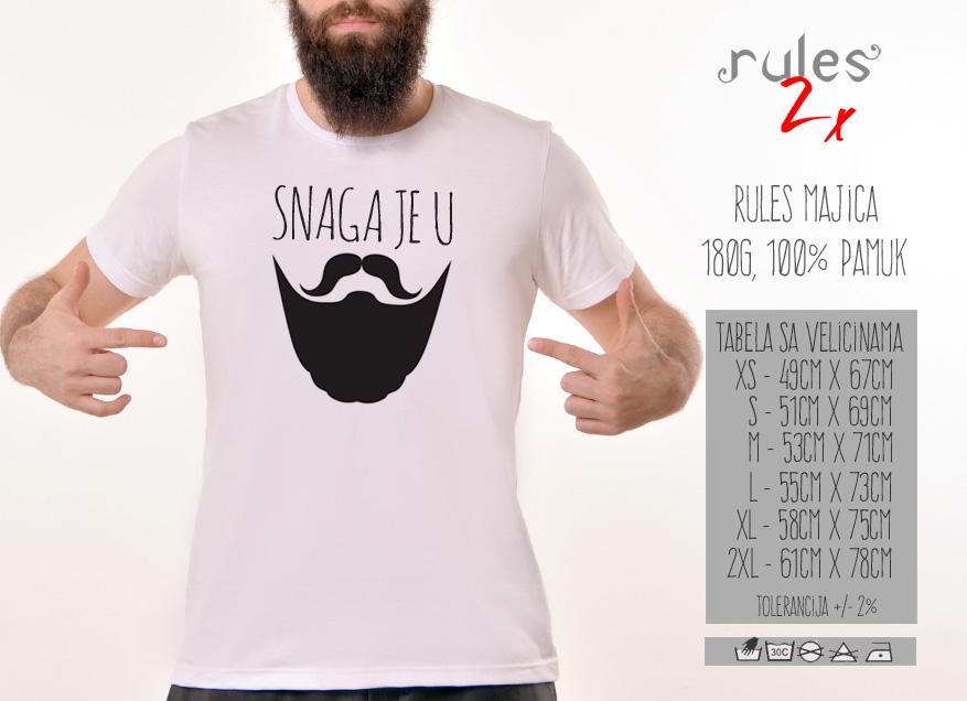 Muska Rules majica sa natpisom Snaga Je U Bradi - Tabela velicina