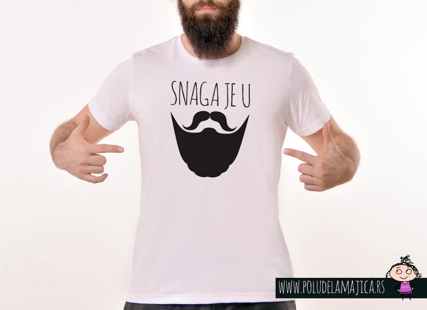 Muska Rules majica sa natpisom Snaga Je U Bradi - poludelamajica