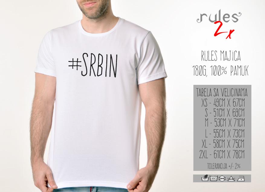 Muska Rules majica sa natpisom Srbin - Tabela velicina