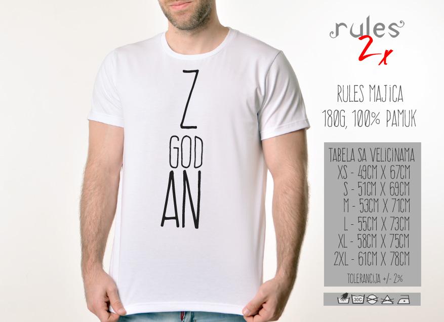 Muska Rules majica sa natpisom Zgodan - Tabela velicina