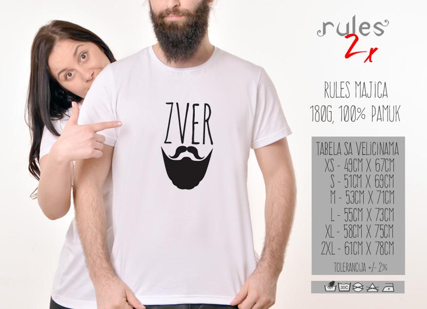 Muska Rules majica sa natpisom Zver Brada - Tabela velicina