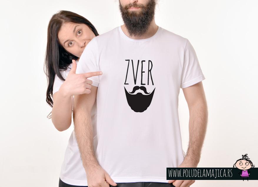 Muska Rules majica sa natpisom Zver Brada - poludelamajica