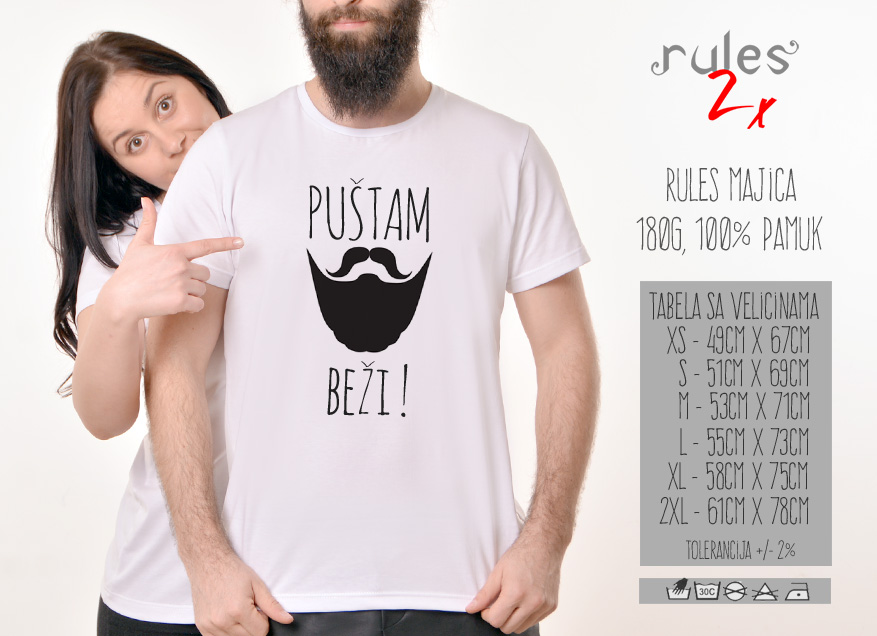 Rules muska majica sa natpisom Pustam Bradu Bezi - Tabela velicina