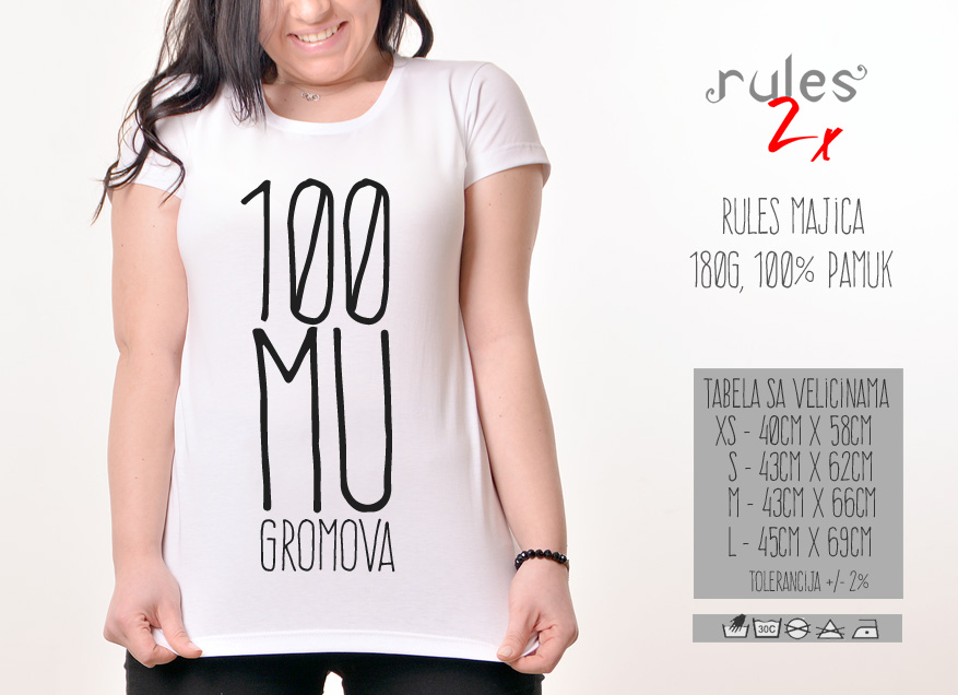 Zenska Rules majica sa natpisom 100 Mu Gromova - Tabela velicina