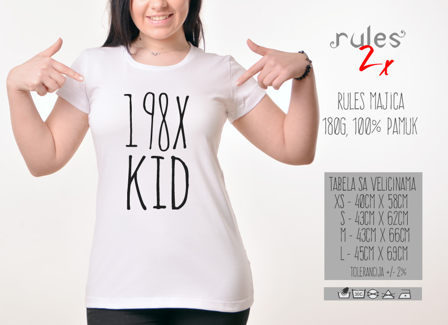 Zenska Rules majica sa natpisom 198x kid - Tabela velicina