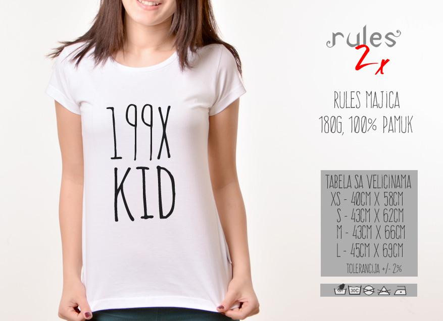 Zenska Rules majica sa natpisom 199x kid - Tabela velicina
