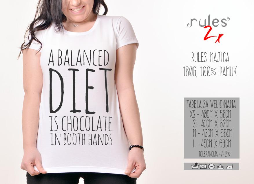 Zenska Rules majica sa natpisom A Balanced Died - Tabela velicina