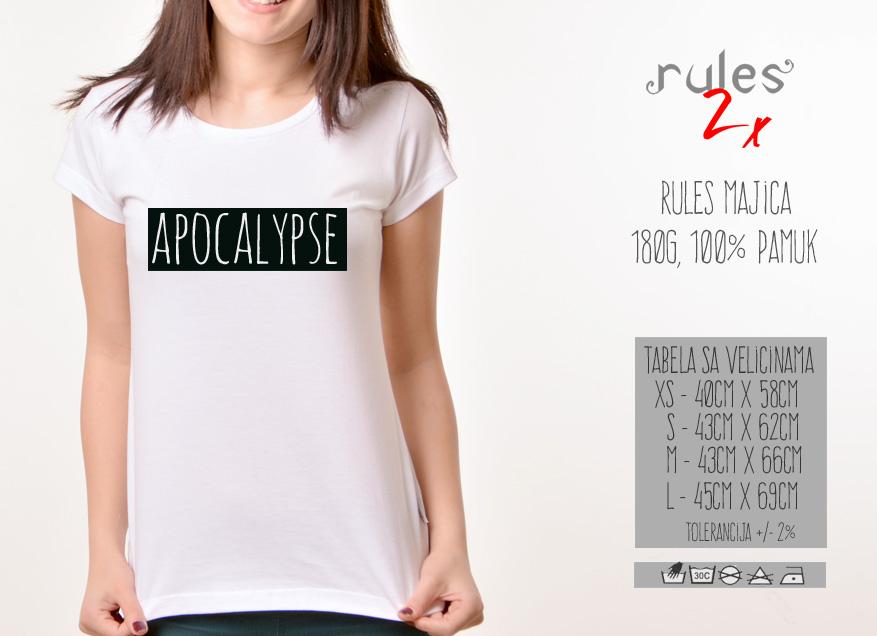 Zenska Rules majica sa natpisom Apocalypse - Tabela velicina
