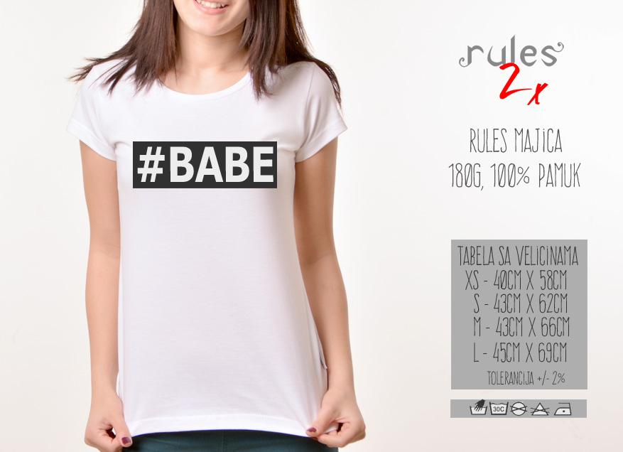 Zenska Rules majica sa natpisom Babe - Tabela velicina