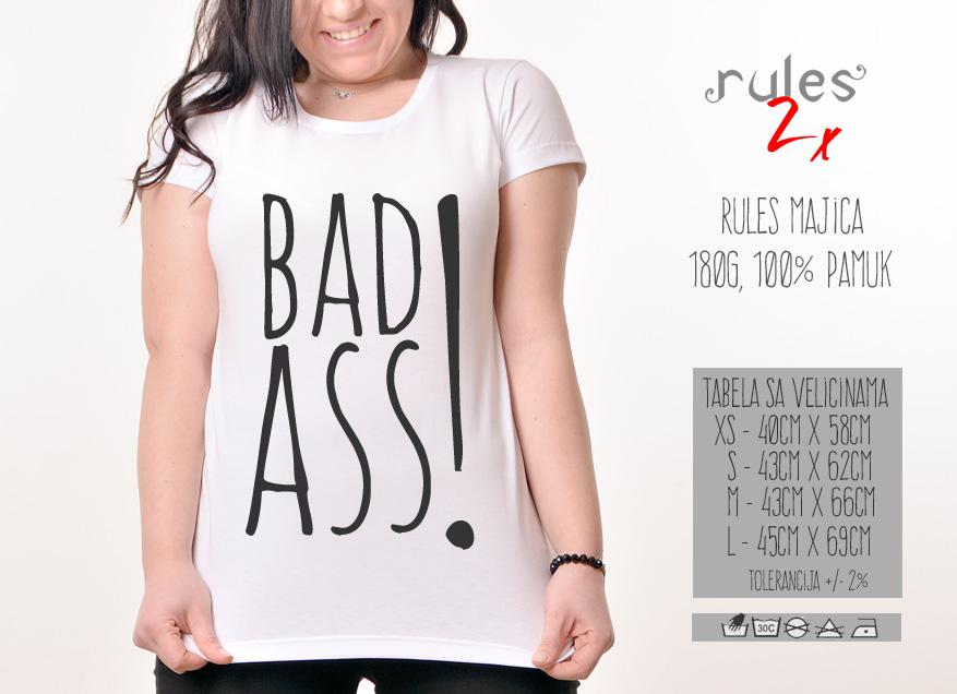 Zenska Rules majica sa natpisom Badass - Tabela velicina