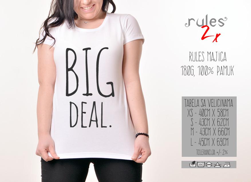 Zenska Rules majica sa natpisom Big Deal - Tabela velicina