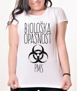 Zenska Rules majica sa natpisom Bioloska Opasnost PMS -  Proizvod