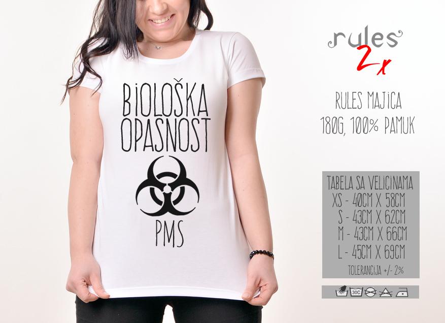 Zenska Rules majica sa natpisom Bioloska Opasnost PMS -  Tabela velicina