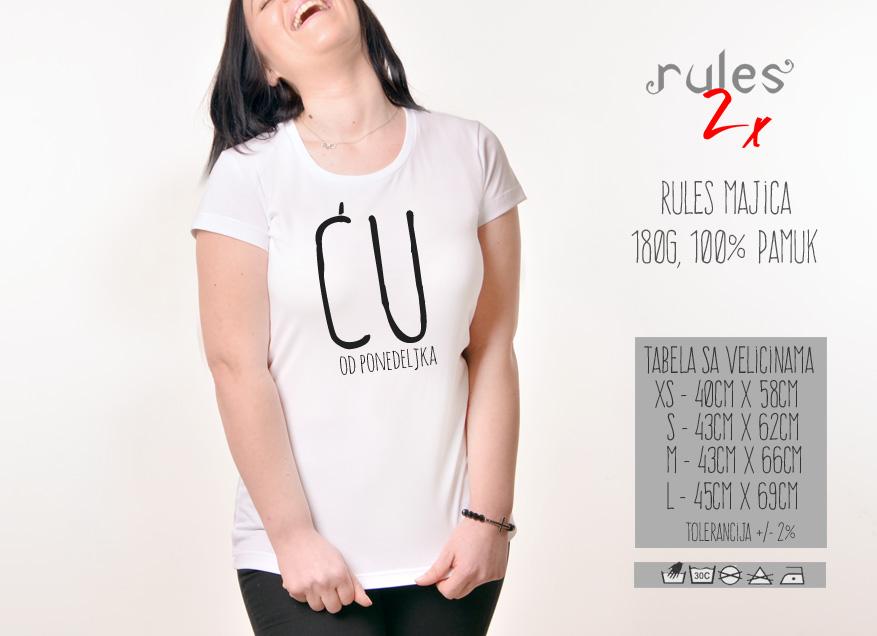 Zenska Rules majica sa natpisom CU od ponedeljka - Tabela velicina