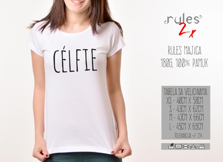 Zenska Rules majica sa natpisom Celfie -  Tabela velicina
