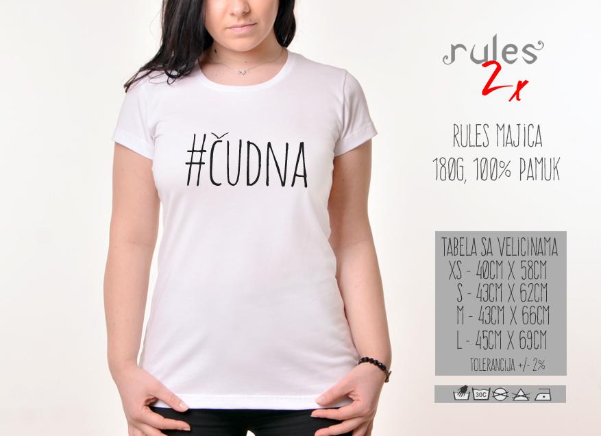 Zenska Rules majica sa natpisom Cudna - Tabela velicina