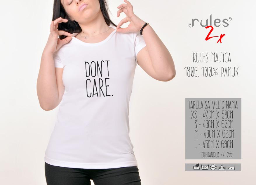 Zenska Rules majica sa natpisom Dont Care - Tabela velicina